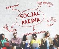 Conceito em linha social de Media Communication imagem de stock
