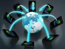 Conceito esperto das conexões do telefone e do mundo Foto de Stock