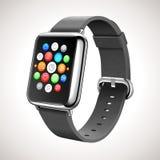 Conceito esperto do relógio com ícones móveis dos apps Fotografia de Stock