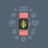 Conceito esperto do relógio com grupo do ícone do vetor do app Fotografia de Stock Royalty Free