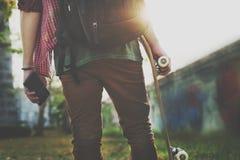 Conceito extremo Skateboarding dos esportes do estilo livre da prática imagens de stock