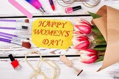 Conceito feliz das felicitações do dia do ` s das mulheres Foto de Stock Royalty Free