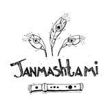 Conceito feliz de Krishna Janmashtami Cartaz, bandeira, cartão Ilustração preto e branco tirada mão do vetor Estilo do esboço Fotos de Stock Royalty Free