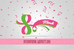 Conceito feliz do cartão da celebração do dia do ` s das mulheres projete para o dia internacional do ` s das mulheres - 8 de mar Fotos de Stock