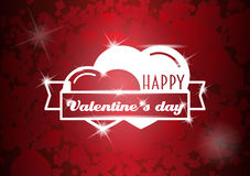 Conceito feliz do cartão, do inseto ou do cartaz do dia de Valentim com dois corações Imagens de Stock