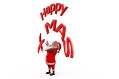 conceito feliz do xmas de 3d Papai Noel Imagens de Stock