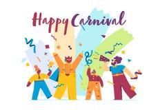 Conceito festivo do carnaval feliz com máscara engraçada dos caráteres ilustração do vetor