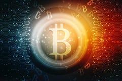 Conceito financeiro com símbolo de Bitcoins Fundo financeiro do negócio 3d rendem ilustração do vetor