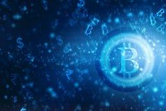 Conceito financeiro com símbolo de Bitcoins Fundo financeiro do negócio 3d rendem ilustração stock