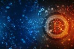Conceito financeiro com símbolo de Bitcoins Fundo financeiro do negócio 3d rendem ilustração royalty free