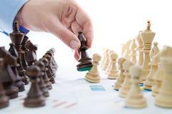 Conceito financeiro da estratégia empresarial da xadrez Fotos de Stock