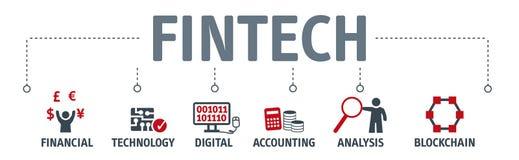 Conceito financeiro da tecnologia do Internet do investimento de Fintech da bandeira ilustração royalty free