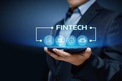 Conceito financeiro do Internet do negócio da tecnologia de Fintech Digital imagens de stock royalty free