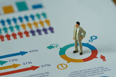 Conceito financeiro do negócio como o homem de negócio diminuto que está em Imagem de Stock Royalty Free