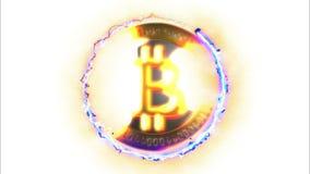 conceito financeiro do ouro 3D com Bitcoins dourado filme