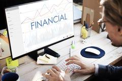 Conceito financeiro do progresso do negócio da analítica das estatísticas Foto de Stock