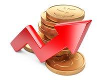 Conceito financeiro do sucesso Seta e moedas vermelhas Imagens de Stock