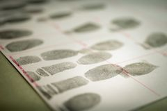 Conceito fisiológico da biométrica para o registro criminal pelo fingerpr imagem de stock