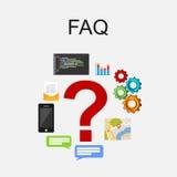 Conceito frequentemente pedido da ilustração do conceito do FAQ das perguntas conceito em linha do apoio ilustração royalty free
