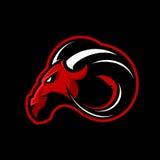 Conceito furioso do logotipo do vetor do clube de esporte da ram isolado no fundo preto Imagem de Stock