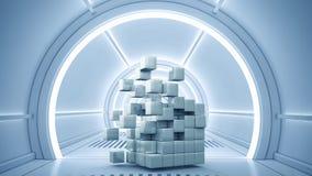 Conceito futurista das tecnologias Meios mistos Fotografia de Stock