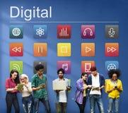 Conceito futurista do conteúdo digital da conexão dos multimédios fotos de stock royalty free