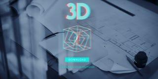 conceito futurista gráfico da ilusão da faculdade criadora 3D Imagem de Stock Royalty Free