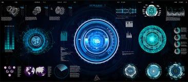 Conceito futurista HUD de Ui da tecnologia, relação ilustração do vetor