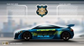 Conceito futurista realístico Infographic do carro de polícia Fundo urbano da cidade Táxi em linha App móvel, registro do táxi, m Imagem de Stock