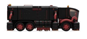 Conceito futuro da vista isolada caminhão de lavagem Foto de Stock Royalty Free