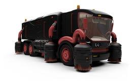 Conceito futuro da vista isolada caminhão de lavagem Imagens de Stock Royalty Free