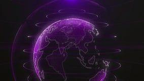 Conceito futuro de giro do negócio da tecnologia da animação da terra do planeta Globo brilhante de Digitas da terra Rotação de l ilustração stock