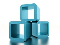 Conceito geométrico abstrato dos cubos rendido ilustração do vetor