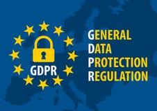 Conceito geral do regulamento da proteção de dados de GDPR ilustração royalty free
