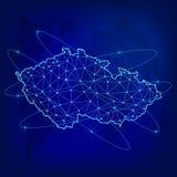 Conceito global da rede da logística Mapa de rede Checo das comunicações no fundo do mundo Mapa de Checo connosco em poligonal ilustração stock