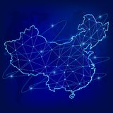 Conceito global da rede da logística Mapa de rede das comunicações da China no fundo do mundo Mapa de China connosco em poli ilustração royalty free