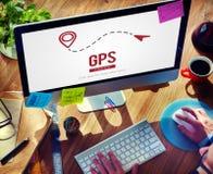 Conceito global da trilha da tecnologia da busca da posição de GPS Fotografia de Stock