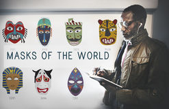Conceito global das máscaras tradicionais culturais Fotos de Stock Royalty Free