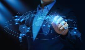 Conceito global de Techology do Internet da rede do negócio da conexão de uma comunicação do mundo imagem de stock royalty free