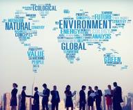 Conceito global do mapa do mundo da sustentabilidade natural do ambiente Fotos de Stock Royalty Free