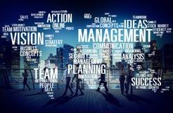 Conceito global do mapa do mundo da visão da formação à gestão Foto de Stock Royalty Free