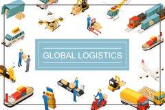 Conceito global isométrico do transporte ilustração royalty free