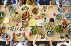 Conceito gourmet culinário do partido de bufete da culinária da restauração do alimento fotos de stock