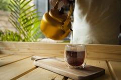Conceito gourmet do chá e do café foto de stock