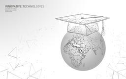 Conceito graduado do programa do certificado da distância do ensino eletrónico Baixo 3D poli para render o tampão da graduação no ilustração do vetor