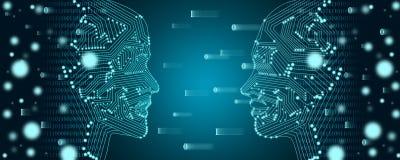 Conceito grande da aprendizagem dos dados e de máquina Esboço de duas caras com fluxo de dados binário em um fundo imagens de stock royalty free