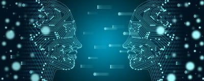 Conceito grande da aprendizagem dos dados e de máquina Esboço fêmea de duas caras com fluxo de dados binário em um fundo foto de stock royalty free