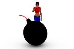 conceito grande da bomba da mulher 3d Imagem de Stock Royalty Free