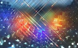 Conceito grande dos dados Flashes claros de néon em um fundo tecnologico ilustração do vetor