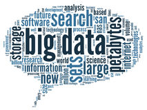 Conceito grande dos dados na nuvem da palavra Imagens de Stock
